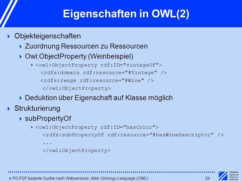 4PG P2P basierte Suche nach Webservices: Web Ontology Language (OWL)29 Eigenschaften in OWL(2)  Objekteigenschaften  Zuordnung Ressourcen zu Ressourcen  Owl:ObjectProperty (Weinbeispiel)   Deduktion über Eigenschaft auf Klasse möglich  Strukturierung  subPropertyOf ...