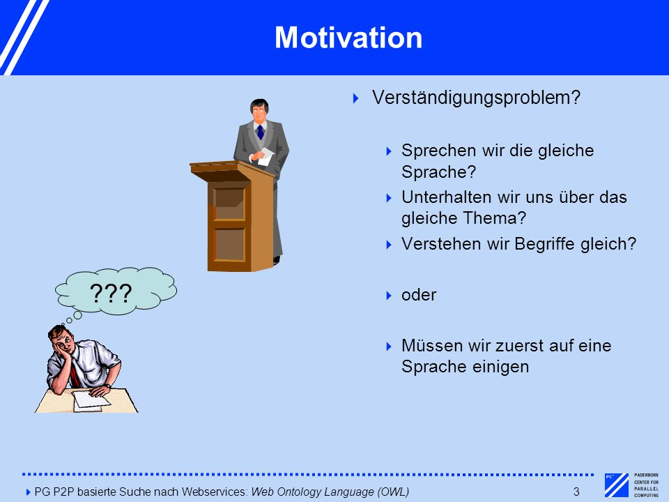 4PG P2P basierte Suche nach Webservices: Web Ontology Language (OWL)3 Motivation    Sprechen wir die gleiche Sprache?  Unterhalt