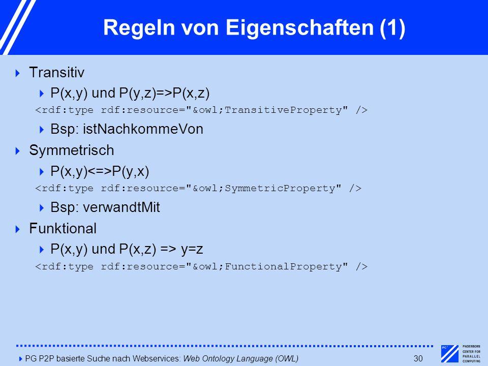4PG P2P basierte Suche nach Webservices: Web Ontology Language (OWL)30 Regeln von Eigenschaften (1)  Transitiv  P(x,y) und P(y,z)=>P(x,z)  Bsp: istNachkommeVon  Symmetrisch  P(x,y) P(y,x)  Bsp: verwandtMit  Funktional  P(x,y) und P(x,z) => y=z