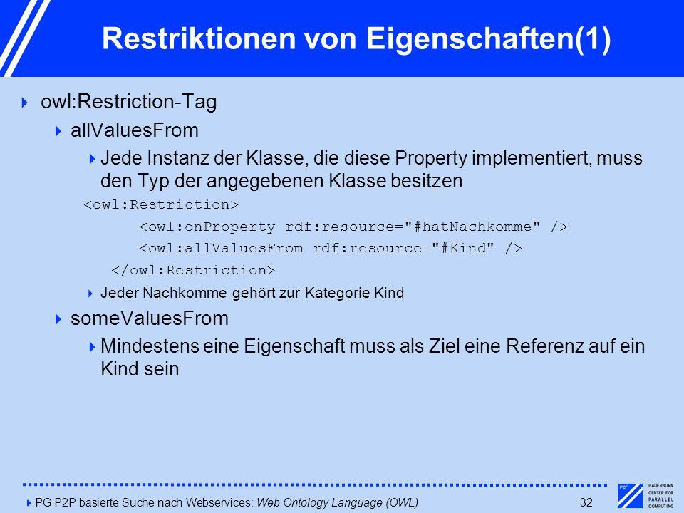4PG P2P basierte Suche nach Webservices: Web Ontology Language (OWL)32 Restriktionen von Eigenschaften(1)  owl:Restriction-Tag  allValuesFrom  Jede Instanz der Klasse, die diese Property implementiert, muss den Typ der angegebenen Klasse besitzen  Jeder Nachkomme gehört zur Kategorie Kind  someValuesFrom  Mindestens eine Eigenschaft muss als Ziel eine Referenz auf ein Kind sein