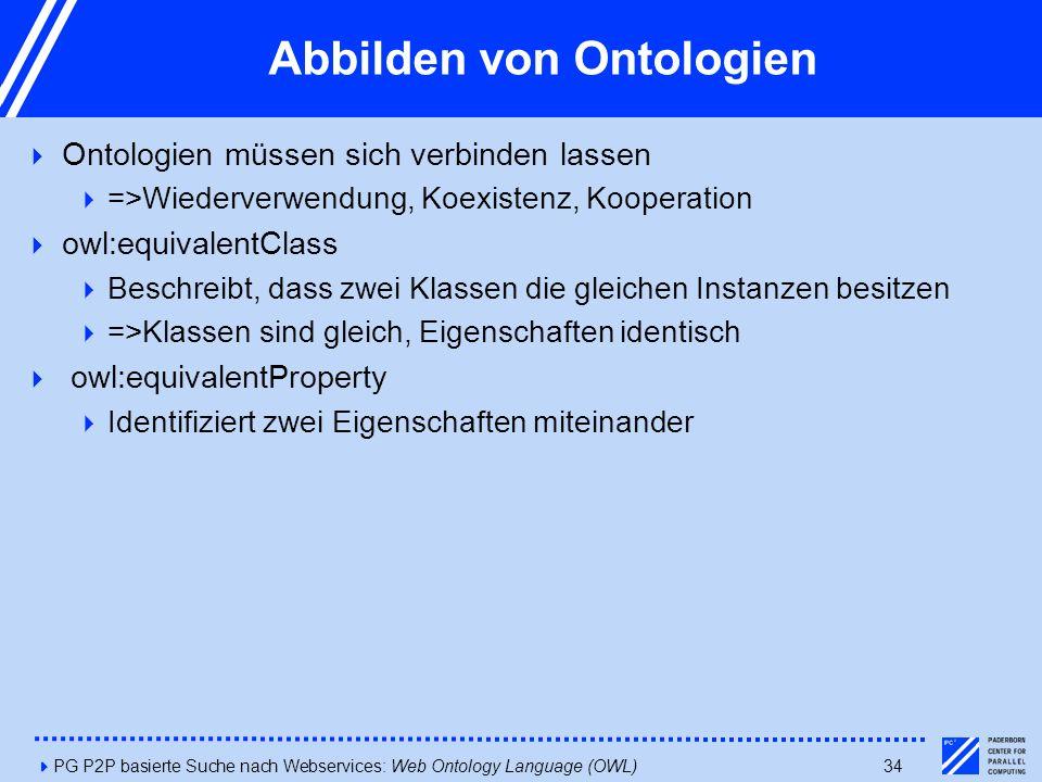 4PG P2P basierte Suche nach Webservices: Web Ontology Language (OWL)34 Abbilden von Ontologien  Ontologien müssen sich verbinden lassen  =>Wiederverwendung, Koexistenz, Kooperation  owl:equivalentClass  Beschreibt, dass zwei Klassen die gleichen Instanzen besitzen  =>Klassen sind gleich, Eigenschaften identisch  owl:equivalentProperty  Identifiziert zwei Eigenschaften miteinander