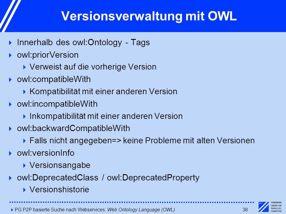 4PG P2P basierte Suche nach Webservices: Web Ontology Language (OWL)38 Versionsverwaltung mit OWL  Innerhalb des owl:Ontology - Tags  owl:priorVersion  Verweist auf die vorherige Version  owl:compatibleWith  Kompatibilität mit einer anderen Version  owl:incompatibleWith  Inkompatibilität mit einer anderen Version  owl:backwardCompatibleWith  Falls nicht angegeben=> keine Probleme mit alten Versionen  owl:versionInfo  Versionsangabe  owl:DeprecatedClass / owl:DeprecatedProperty  Versionshistorie