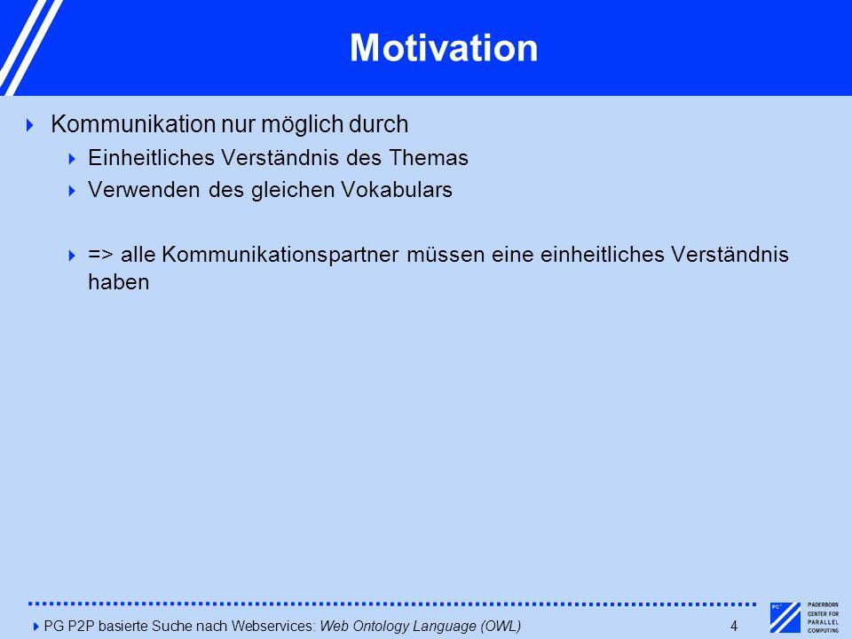 4PG P2P basierte Suche nach Webservices: Web Ontology Language (OWL)4 Motivation  Kommunikation nur möglich durch  Einheitliches Verständnis des Themas  Verwenden des gleichen Vokabulars  => alle Kommunikationspartner müssen eine einheitliches Verständnis haben