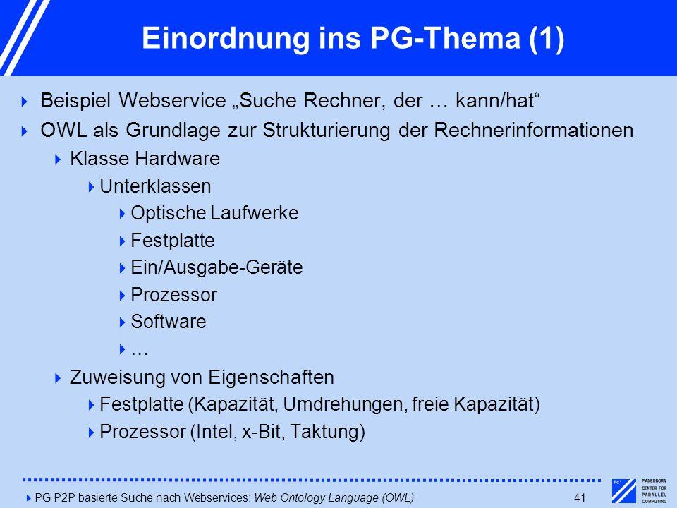 """4PG P2P basierte Suche nach Webservices: Web Ontology Language (OWL)41 Einordnung ins PG-Thema (1)  Beispiel Webservice """"Suche Rechner, der … kann/hat  OWL als Grundlage zur Strukturierung der Rechnerinformationen  Klasse Hardware  Unterklassen  Optische Laufwerke  Festplatte  Ein/Ausgabe-Geräte  Prozessor  Software  …  Zuweisung von Eigenschaften  Festplatte (Kapazität, Umdrehungen, freie Kapazität)  Prozessor (Intel, x-Bit, Taktung)"""
