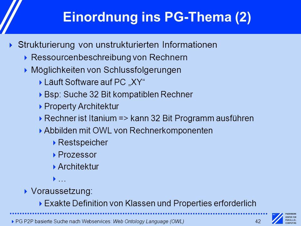 """4PG P2P basierte Suche nach Webservices: Web Ontology Language (OWL)42 Einordnung ins PG-Thema (2)  Strukturierung von unstrukturierten Informationen  Ressourcenbeschreibung von Rechnern  Möglichkeiten von Schlussfolgerungen  Läuft Software auf PC """"XY  Bsp: Suche 32 Bit kompatiblen Rechner  Property Architektur  Rechner ist Itanium => kann 32 Bit Programm ausführen  Abbilden mit OWL von Rechnerkomponenten  Restspeicher  Prozessor  Architektur  …  Voraussetzung:  Exakte Definition von Klassen und Properties erforderlich"""