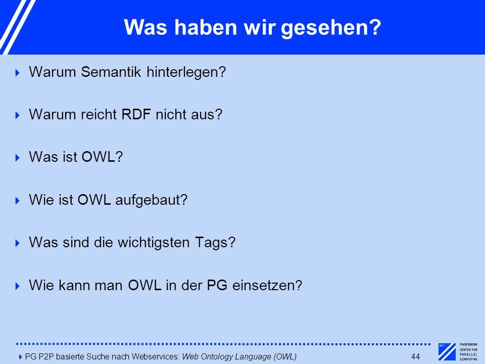 4PG P2P basierte Suche nach Webservices: Web Ontology Language (OWL)44 Was haben wir gesehen?  Warum Semantik hinterlegen?  Warum reicht RDF nicht a
