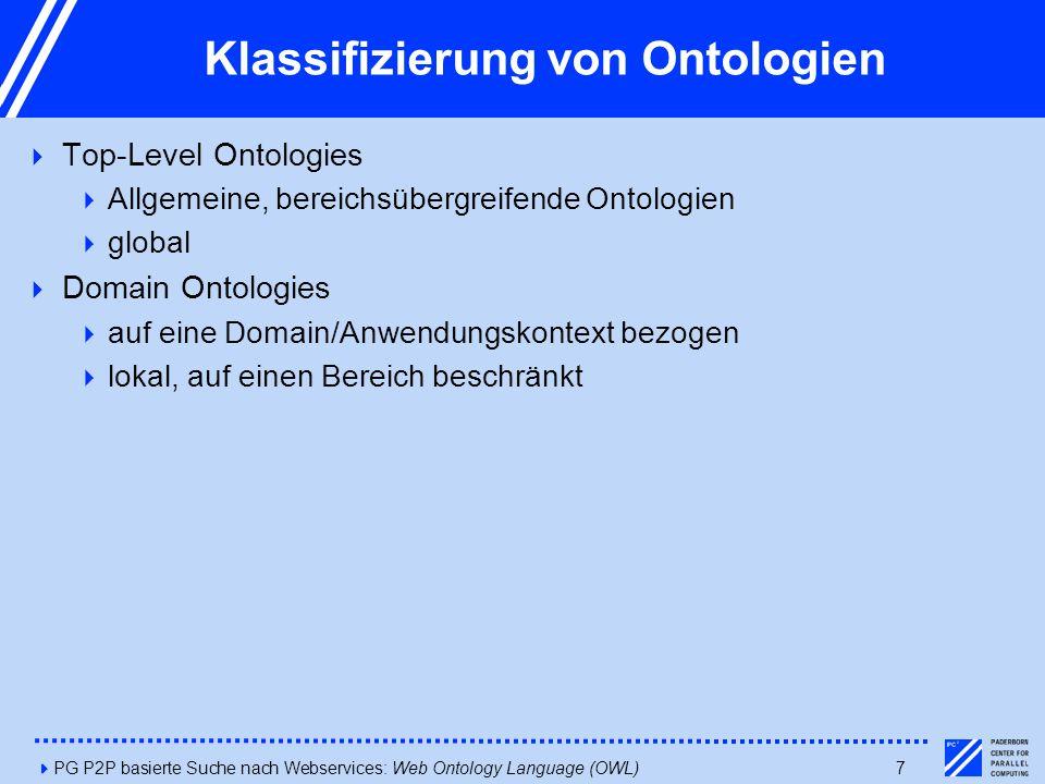 4PG P2P basierte Suche nach Webservices: Web Ontology Language (OWL)7 Klassifizierung von Ontologien  Top-Level Ontologies  Allgemeine, bereichsübergreifende Ontologien  global  Domain Ontologies  auf eine Domain/Anwendungskontext bezogen  lokal, auf einen Bereich beschränkt