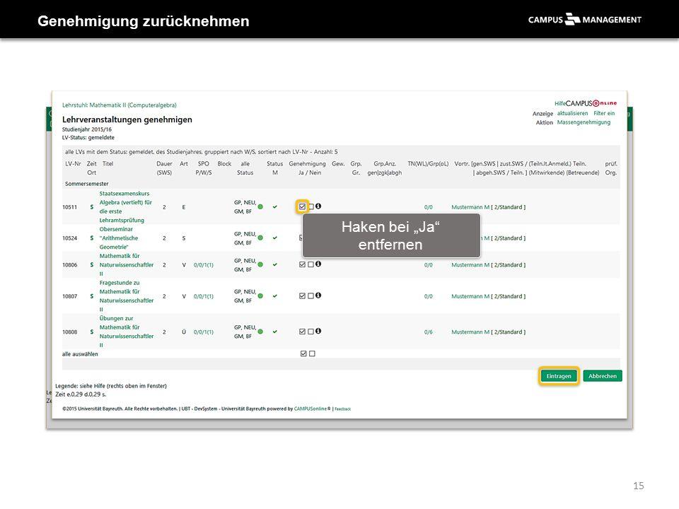"""Genehmigung zurücknehmen Haken bei """"Ja"""" entfernen 15"""