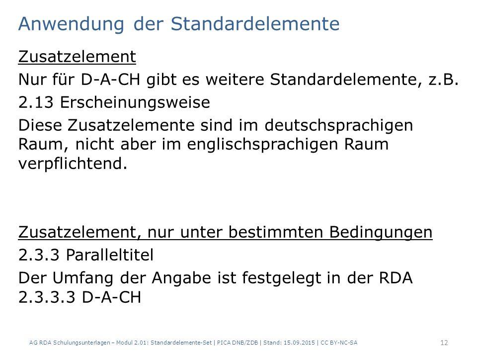 Anwendung der Standardelemente Zusatzelement Nur für D-A-CH gibt es weitere Standardelemente, z.B. 2.13 Erscheinungsweise Diese Zusatzelemente sind im