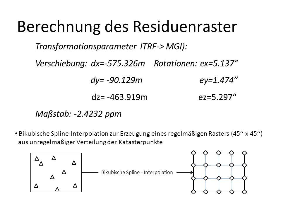Transformationsparameter ITRF-> MGI): Verschiebung: dx=-575.326m Rotationen: ex=5.137 dy= -90.129m ey=1.474 dz= -463.919m ez=5.297 Maßstab: -2.4232 ppm Berechnung des Residuenraster Bikubische Spline-Interpolation zur Erzeugung eines regelmäßigen Rasters (45'' x 45'') aus unregelmäßiger Verteilung der Katasterpunkte Bikubische Spline - Interpolation
