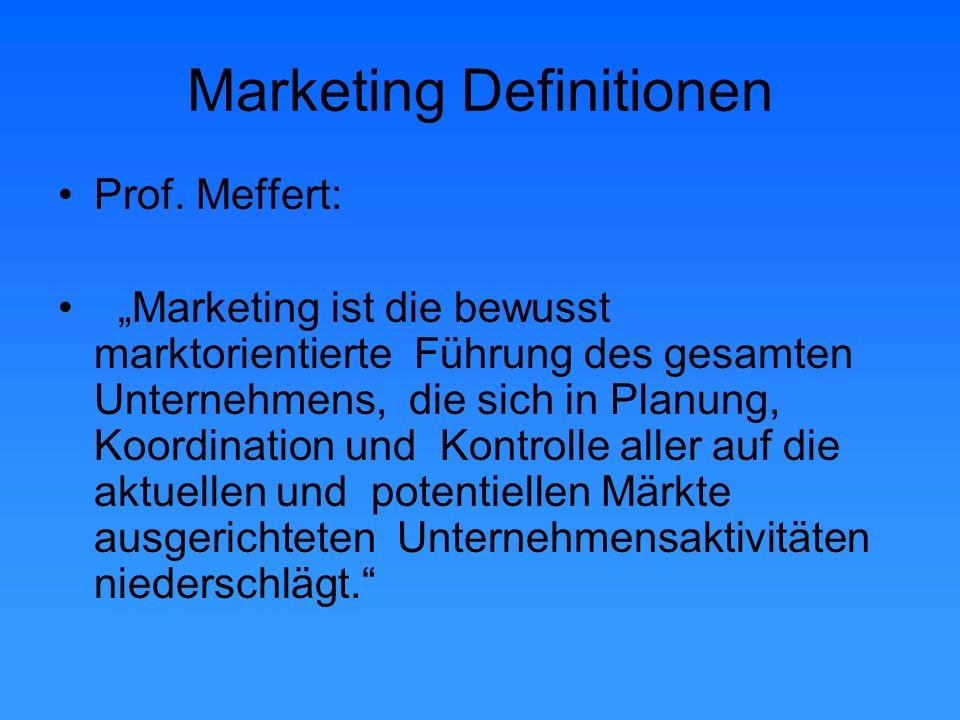 """Marketing Definitionen AMA American Marketing Association: Definition von 1985 """"Marketing ist der Planungsprozess der Konzeption, Preisgestaltung, Promotion und Distribution von Produkten und Dienstleistungen, um Austauschprozesse zu erreichen, die individuelle und organisationale Ziele erfüllen."""