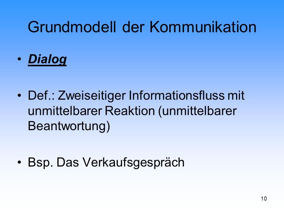 10 Grundmodell der Kommunikation Dialog Def.: Zweiseitiger Informationsfluss mit unmittelbarer Reaktion (unmittelbarer Beantwortung) Bsp. Das Verkaufs
