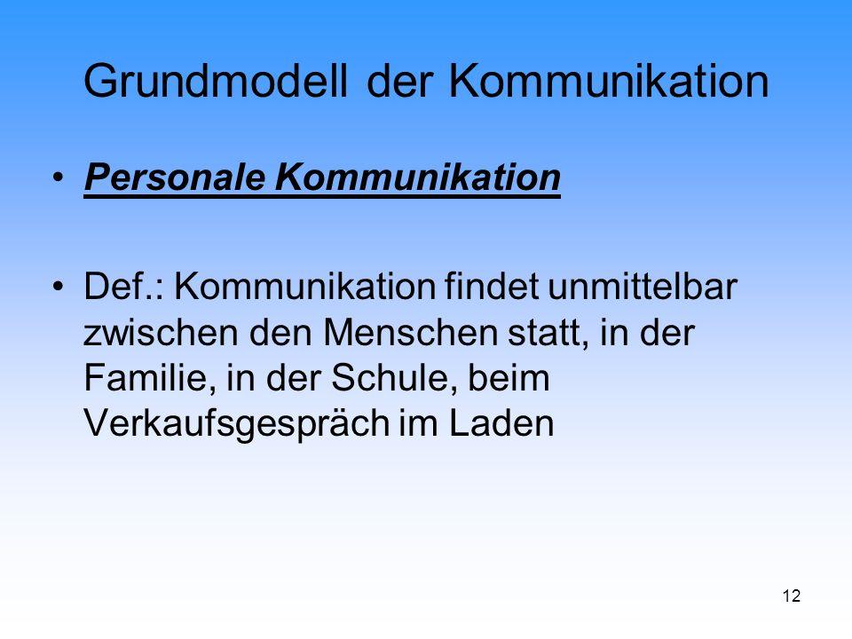 12 Grundmodell der Kommunikation Personale Kommunikation Def.: Kommunikation findet unmittelbar zwischen den Menschen statt, in der Familie, in der Sc