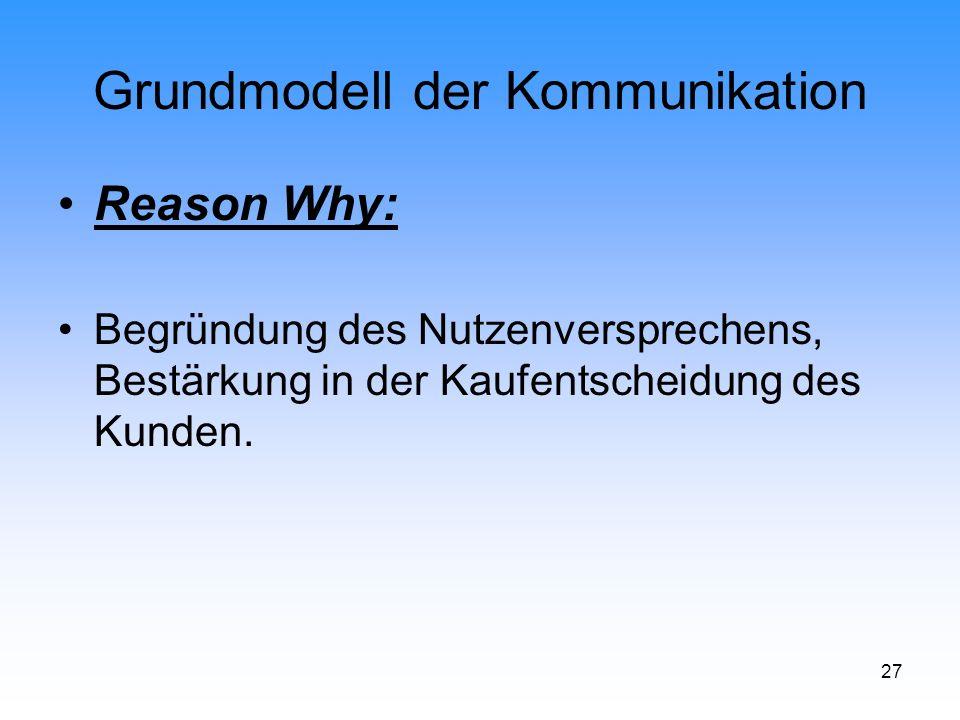 27 Grundmodell der Kommunikation Reason Why: Begründung des Nutzenversprechens, Bestärkung in der Kaufentscheidung des Kunden.