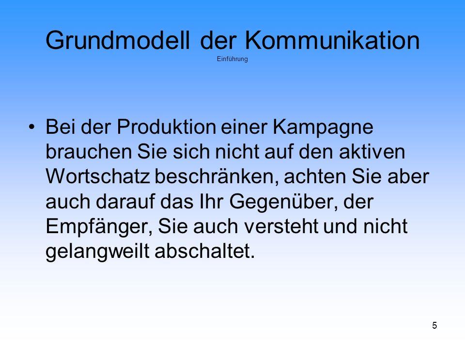 16 Grundmodell der Kommunikation Lasswell-Formel Wer.