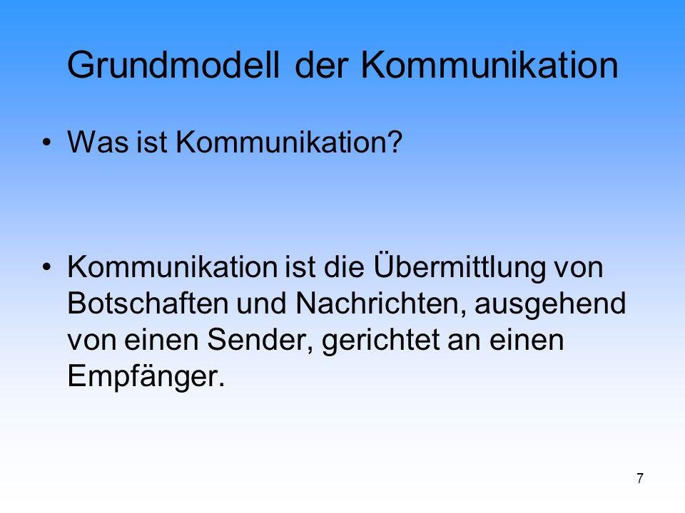 18 Grundmodell der Kommunikation Marketingkommunikation Def.: Die Marketingkommunikation umfasst alle Maßnahmen und Aufgaben zur verbalen und nonverbalen als auch visuellen Weitergabe (Kommunikation) der beschlossenen Denkansätze der Produkt-, Distributions- und Kontrahierungspolitik.