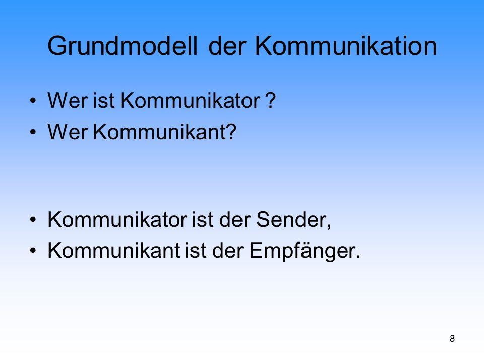 9 Grundmodell der Kommunikation Monolog Def.: Einseitiger Informationsfluss ohne unmittelbare Reaktion (unmittelbare Beantwortung).