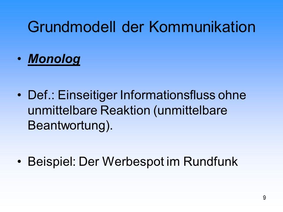 9 Grundmodell der Kommunikation Monolog Def.: Einseitiger Informationsfluss ohne unmittelbare Reaktion (unmittelbare Beantwortung). Beispiel: Der Werb