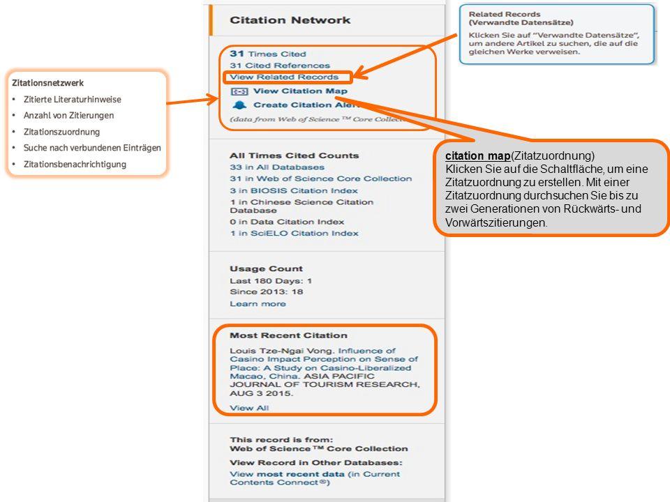 citation map(Zitatzuordnung) Klicken Sie auf die Schaltfläche, um eine Zitatzuordnung zu erstellen.