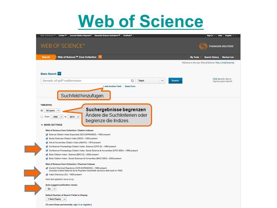 Web of Science Suchfeld hinzufügen.
