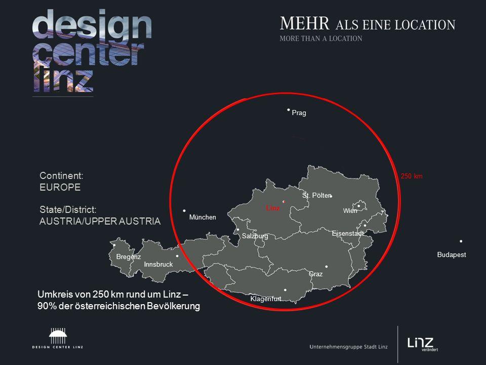 Continent: EUROPE State/District: AUSTRIA/UPPER AUSTRIA Budapest 250 km Prag München Bregenz Innsbruck Klagenfurt Salzburg Graz Eisenstadt Wien St.