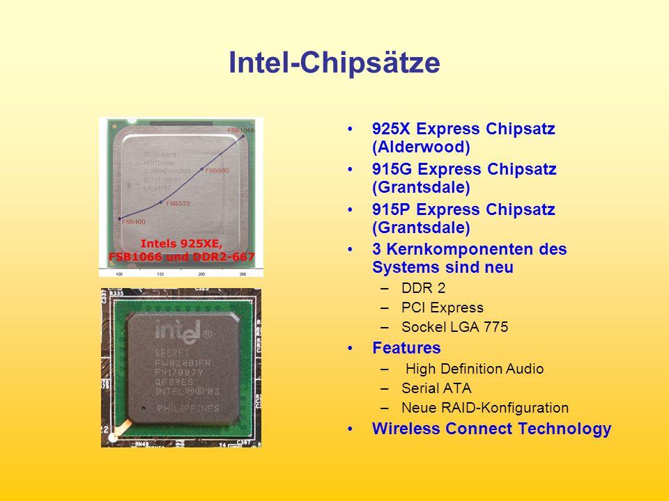 Intel-Chipsätze 925X Express Chipsatz (Alderwood) 915G Express Chipsatz (Grantsdale) 915P Express Chipsatz (Grantsdale) 3 Kernkomponenten des Systems sind neu –DDR 2 –PCI Express –Sockel LGA 775 Features – High Definition Audio –Serial ATA –Neue RAID-Konfiguration Wireless Connect Technology