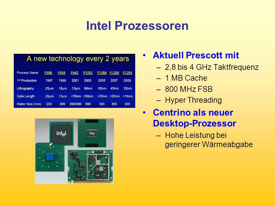 PCI-Express Ersetzt AGP –maximale Transferkapazität 508 MByte/s –der PCI-X-Slot in Version 1.0 mit Frequenzen von 66, 100 und 133 MHz –Eine Bridge erlaubt maximal einen 133-MHz- Slot.