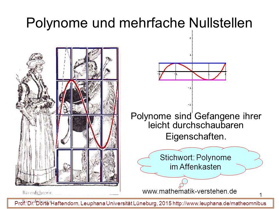 1 Polynome und mehrfache Nullstellen Polynome sind Gefangene ihrer leicht durchschaubaren Eigenschaften. Prof. Dr. Dörte Haftendorn, Leuphana Universi