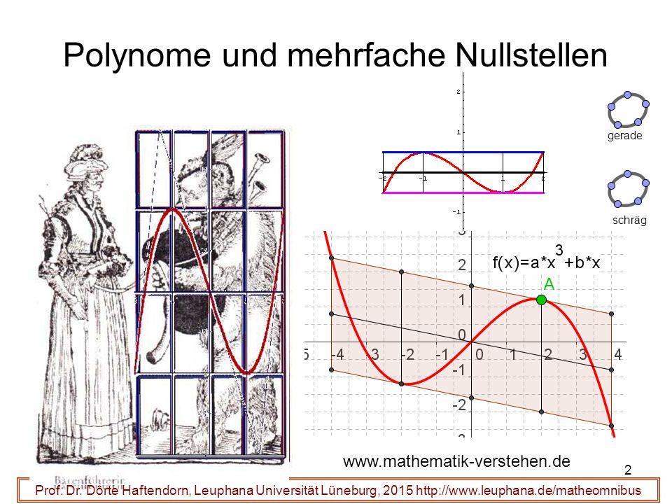 2 Polynome und mehrfache Nullstellen Prof. Dr. Dörte Haftendorn, Leuphana Universität Lüneburg, 2015 http://www.leuphana.de/matheomnibus www.mathemati