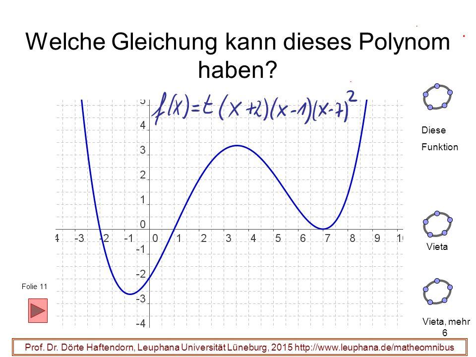 6 Welche Gleichung kann dieses Polynom haben? Prof. Dr. Dörte Haftendorn, Leuphana Universität Lüneburg, 2015 http://www.leuphana.de/matheomnibus Dies