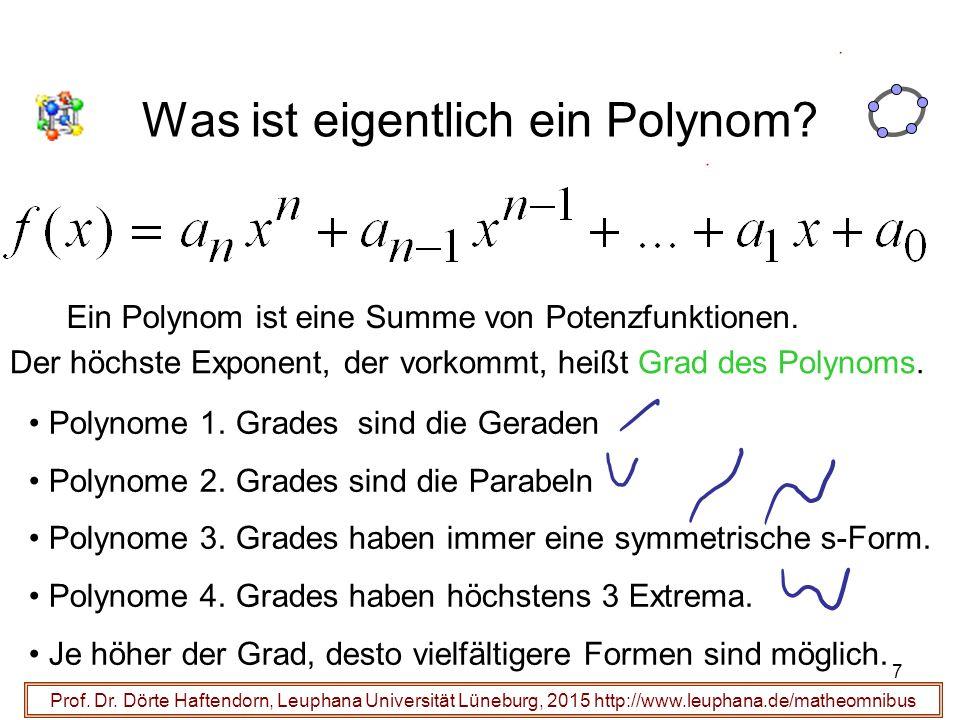 7 Was ist eigentlich ein Polynom? Prof. Dr. Dörte Haftendorn, Leuphana Universität Lüneburg, 2015 http://www.leuphana.de/matheomnibus Ein Polynom ist