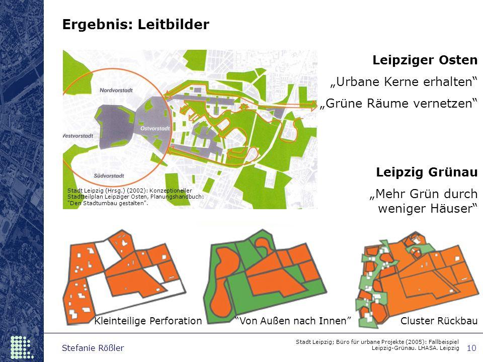 """Stefanie Rößler10 Ergebnis: Leitbilder Stadt Leipzig; Büro für urbane Projekte (2005): Fallbeispiel Leipzig-Grünau. LHASA. Leipzig Leipziger Osten """"Ur"""