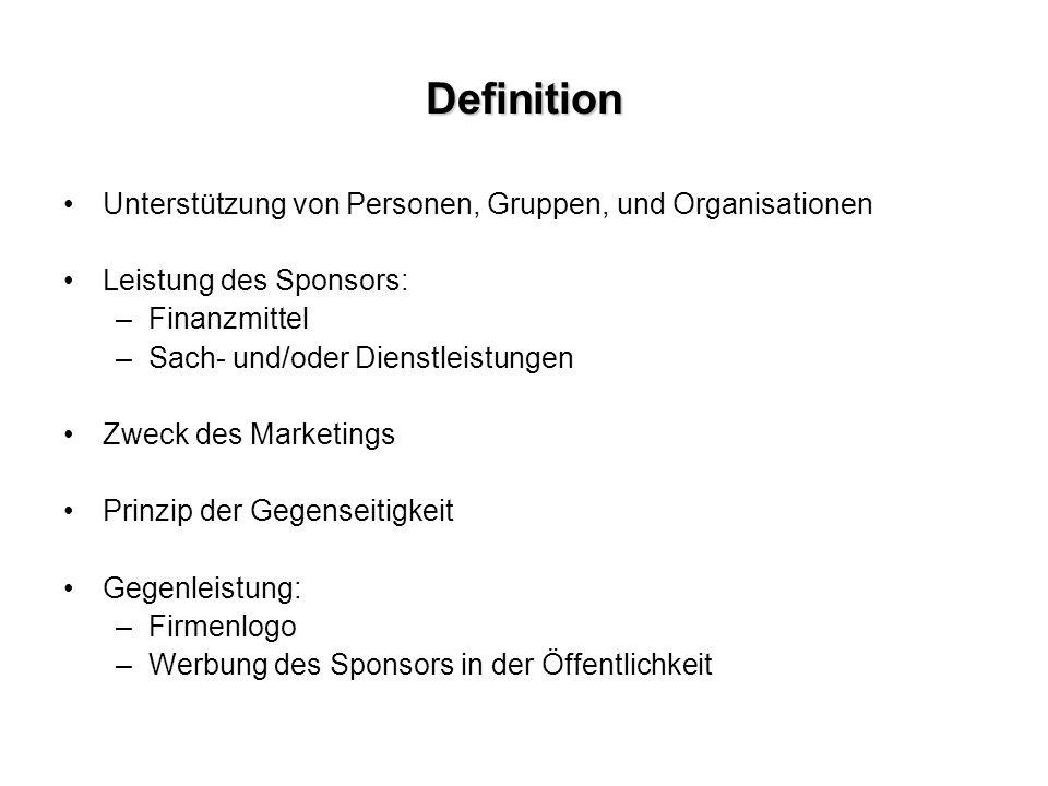 Definition Unterstützung von Personen, Gruppen, und Organisationen Leistung des Sponsors: –Finanzmittel –Sach- und/oder Dienstleistungen Zweck des Marketings Prinzip der Gegenseitigkeit Gegenleistung: –Firmenlogo –Werbung des Sponsors in der Öffentlichkeit