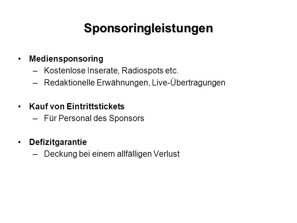Sponsoringleistungen Mediensponsoring –Kostenlose Inserate, Radiospots etc.