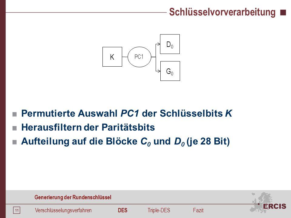 11 Schlüsselvorverarbeitung Permutierte Auswahl PC1 der Schlüsselbits K Herausfiltern der Paritätsbits Aufteilung auf die Blöcke C 0 und D 0 (je 28 Bi