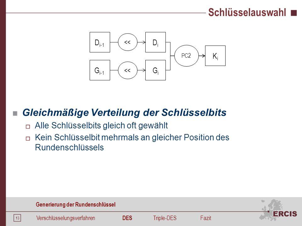 13 Schlüsselauswahl Verschlüsselungsverfahren DES Triple-DESFazit Generierung der Rundenschlüssel KiKi D i-1 << G i-1 << DiDi GiGi PC2 Gleichmäßige Ve