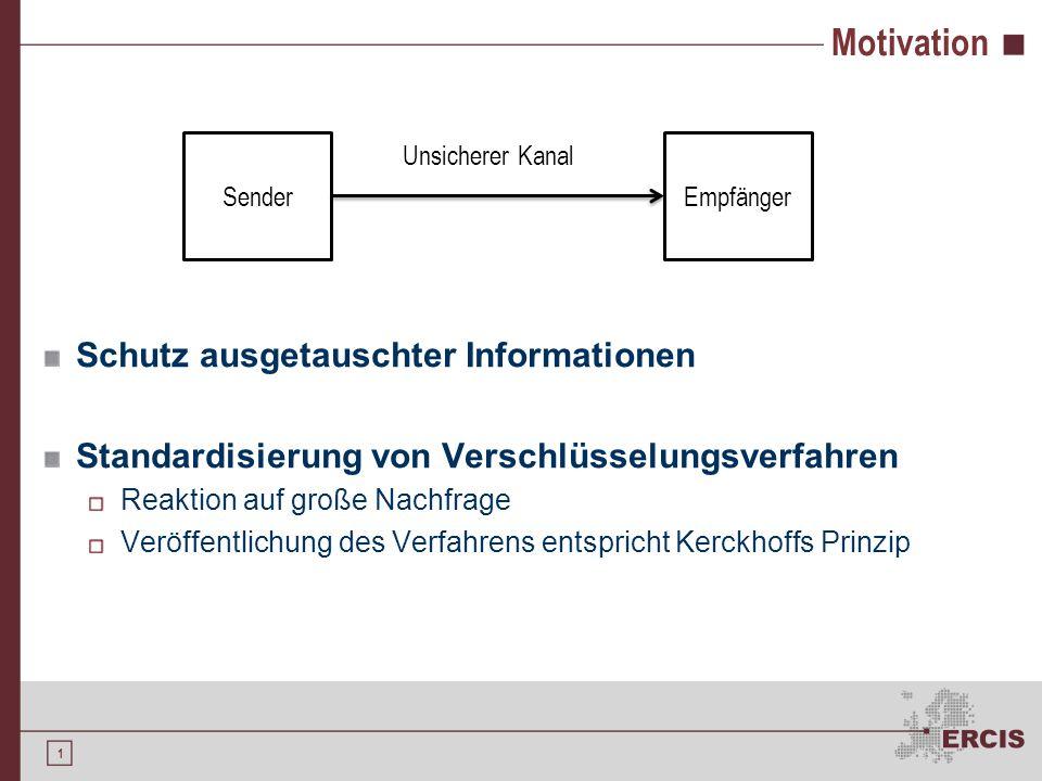 1 Motivation Schutz ausgetauschter Informationen Standardisierung von Verschlüsselungsverfahren Reaktion auf große Nachfrage Veröffentlichung des Verf
