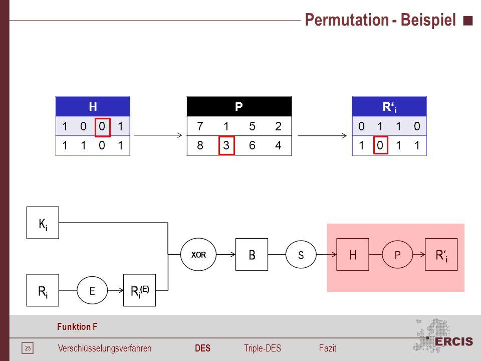 25 Permutation - Beispiel H 1001 1101 P 7152 8364 R' i 0110 1011 Verschlüsselungsverfahren DES Triple-DESFazit Funktion F