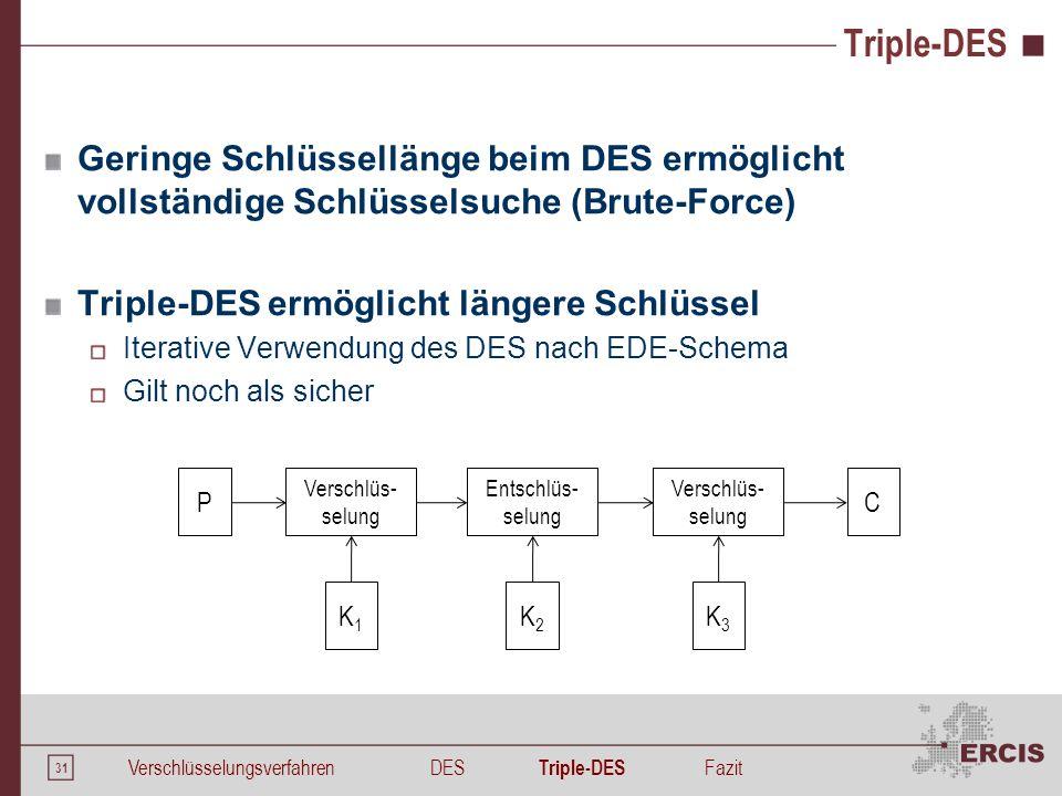 31 Triple-DES Geringe Schlüssellänge beim DES ermöglicht vollständige Schlüsselsuche (Brute-Force) Triple-DES ermöglicht längere Schlüssel Iterative V