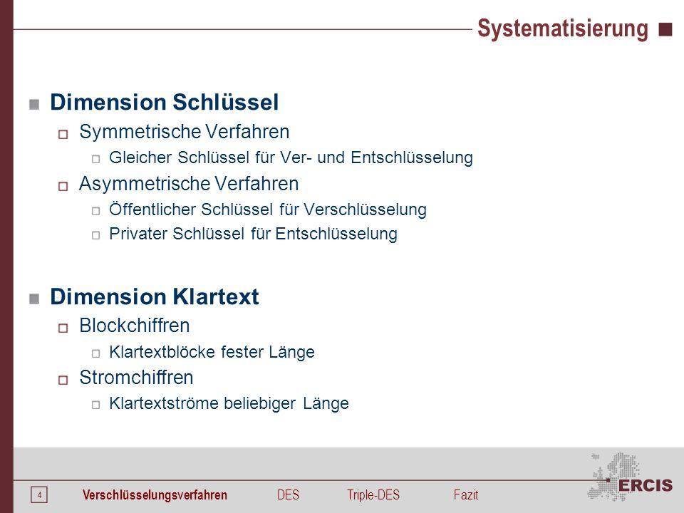 4 Systematisierung Dimension Schlüssel Symmetrische Verfahren Gleicher Schlüssel für Ver- und Entschlüsselung Asymmetrische Verfahren Öffentlicher Sch