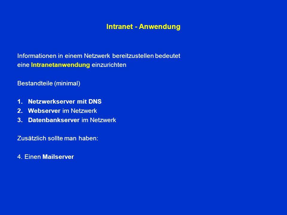 Intranet - Anwendung Informationen in einem Netzwerk bereitzustellen bedeutet eine Intranetanwendung einzurichten Bestandteile (minimal) 1.Netzwerkserver mit DNS 2.Webserver im Netzwerk 3.Datenbankserver im Netzwerk Zusätzlich sollte man haben: 4.