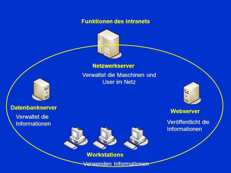 Funktionen des Intranets Datenbankserver Verwaltet die Informationen Webserver Veröffentlicht die Informationen Netzwerkserver Verwaltet die Maschinen und User im Netz Workstations Verwenden Informationen