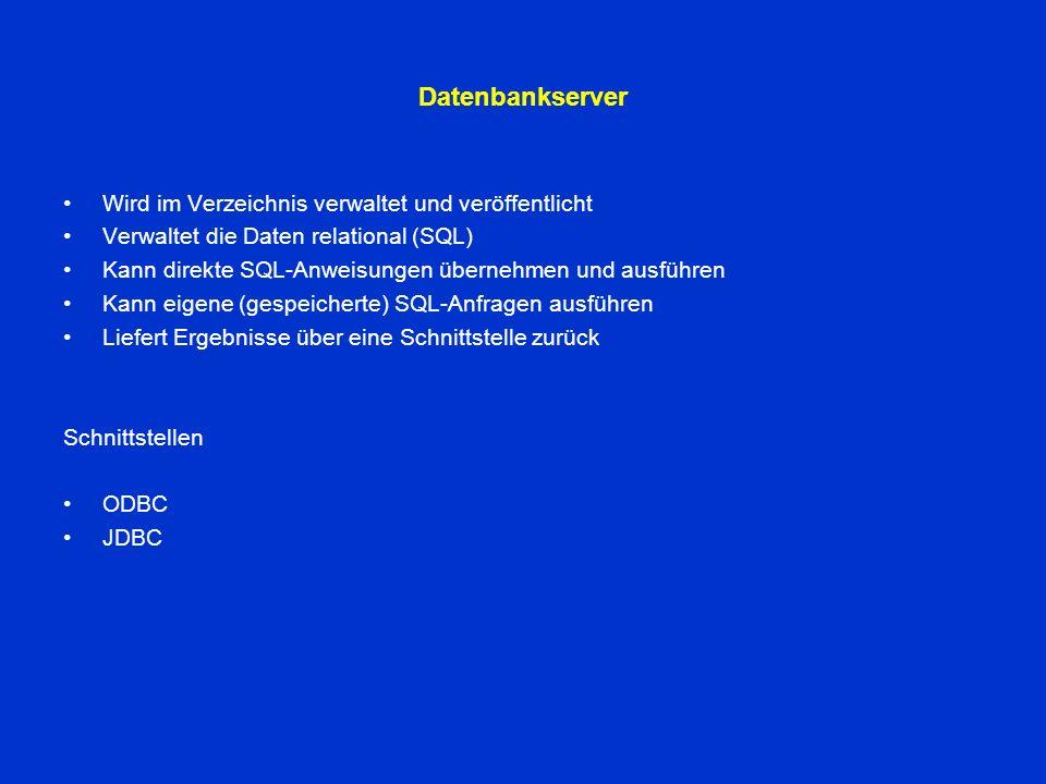 Webserver Wird im Verzeichnis verwaltet Erhält Anfragen von berechtigten und unberechtigten Clients Verwirft unberechtigte Anfragen Bearbeitet Anfragen aktiv Verwaltet und liefert Webseiten aus Stellt Anfragen an den DB-Server Generiert aktiv Webseiten mit Programmen (oder Skripten) Verbindung zum DB-Server DATA ACCES COMPONENTS (ADO) –Aktive Server Programme (oder Scripte) erhalten Zugriff auf den SQL-Server –Anfragenobjekte (Requests) an den DB-Server –Antwortenobjekte (Response) vom Server –Objektbehandlungsroutinen für die obigen Objekte