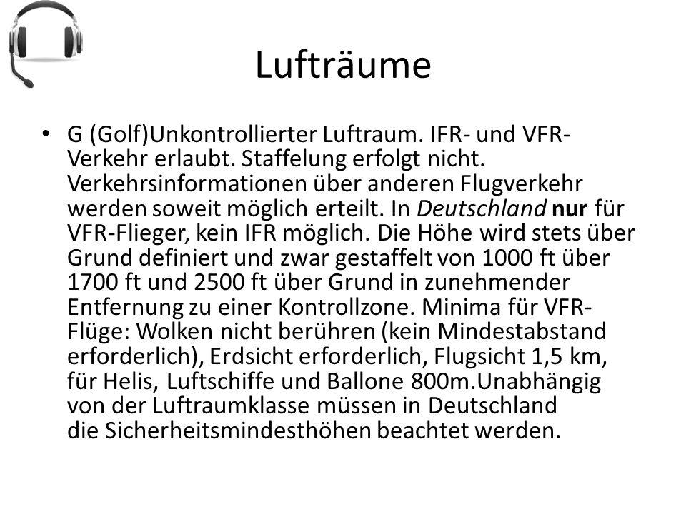 Lufträume G (Golf)Unkontrollierter Luftraum. IFR- und VFR- Verkehr erlaubt. Staffelung erfolgt nicht. Verkehrsinformationen über anderen Flugverkehr w