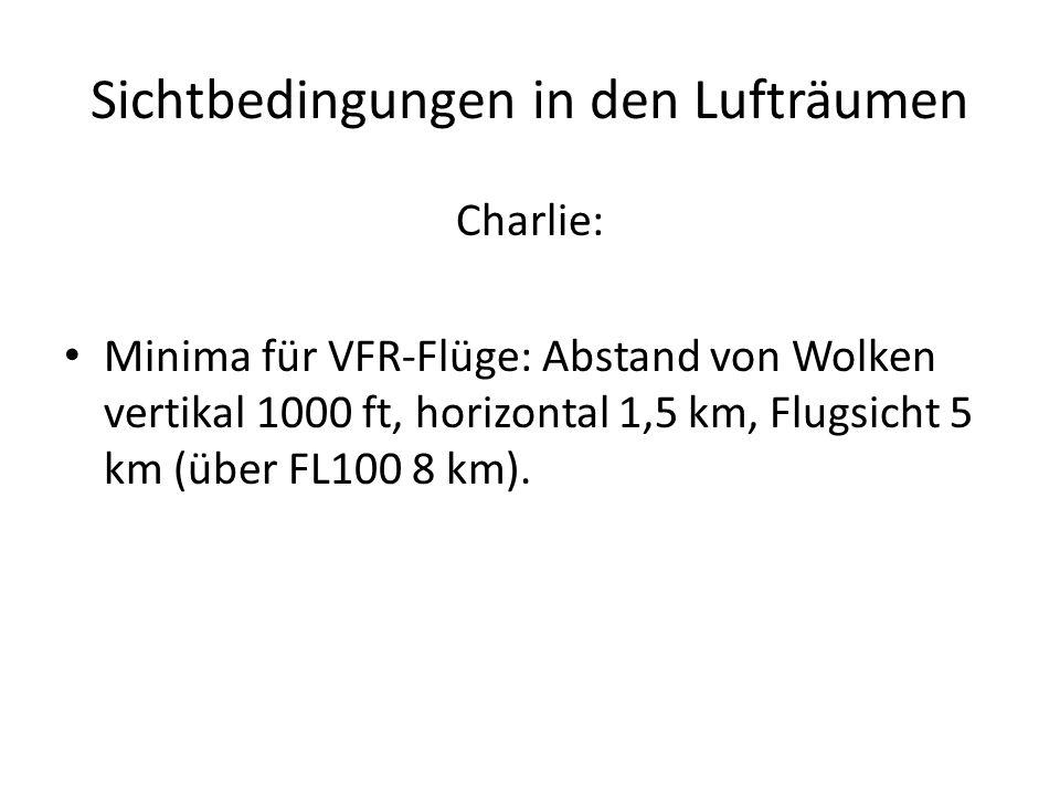 Sichtbedingungen in den Lufträumen Charlie: Minima für VFR-Flüge: Abstand von Wolken vertikal 1000 ft, horizontal 1,5 km, Flugsicht 5 km (über FL100 8