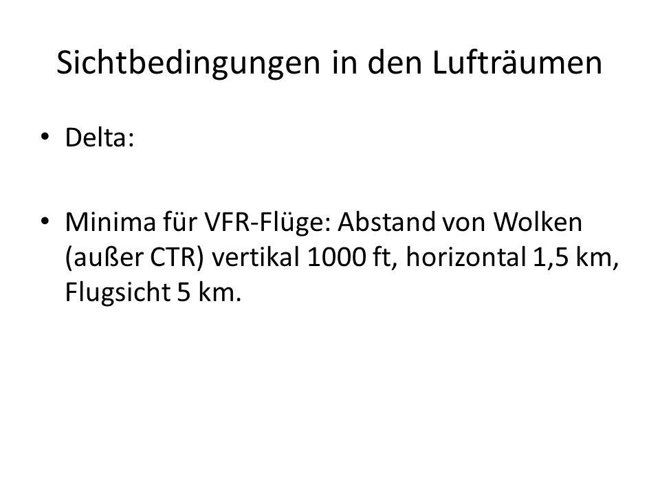 Sichtbedingungen in den Lufträumen Delta: Minima für VFR-Flüge: Abstand von Wolken (außer CTR) vertikal 1000 ft, horizontal 1,5 km, Flugsicht 5 km.