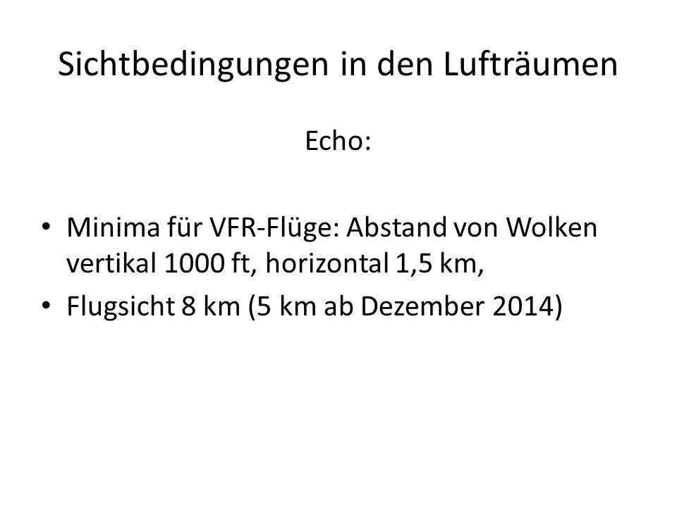 Sichtbedingungen in den Lufträumen Echo: Minima für VFR-Flüge: Abstand von Wolken vertikal 1000 ft, horizontal 1,5 km, Flugsicht 8 km (5 km ab Dezembe
