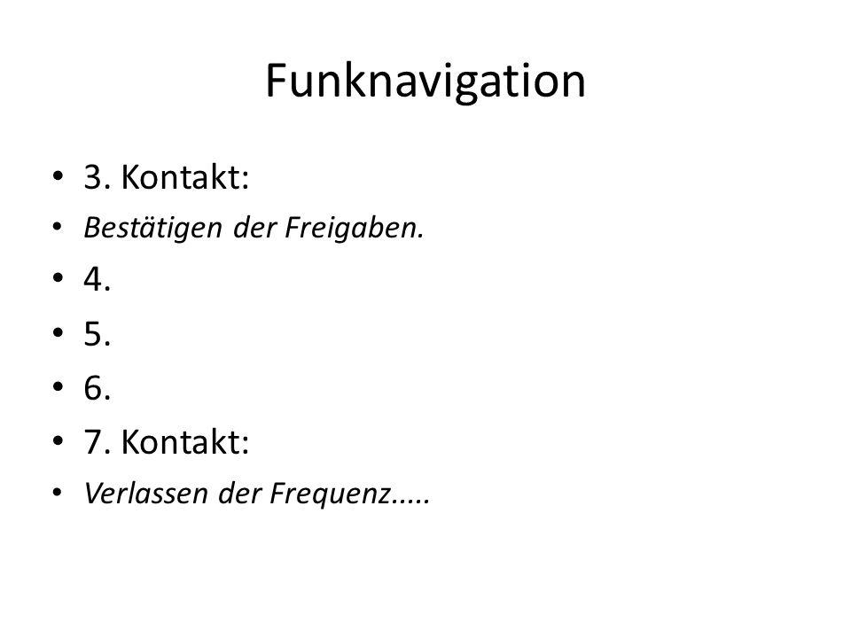 Funknavigation 3. Kontakt: Bestätigen der Freigaben. 4. 5. 6. 7. Kontakt: Verlassen der Frequenz.....
