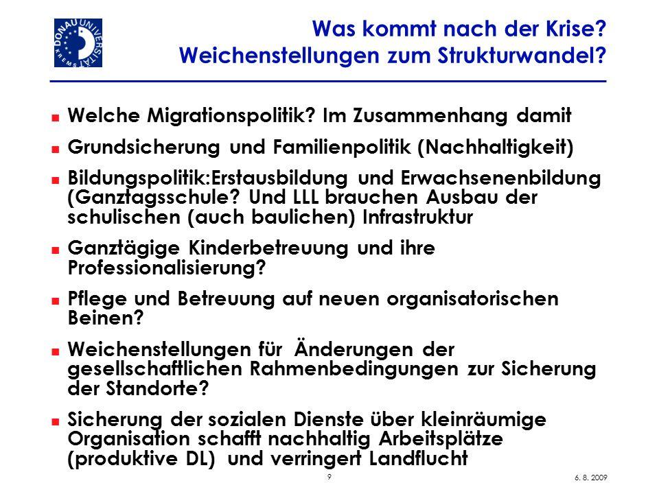 9 6. 8. 2009 Was kommt nach der Krise? Weichenstellungen zum Strukturwandel? Welche Migrationspolitik? Im Zusammenhang damit Grundsicherung und Famili