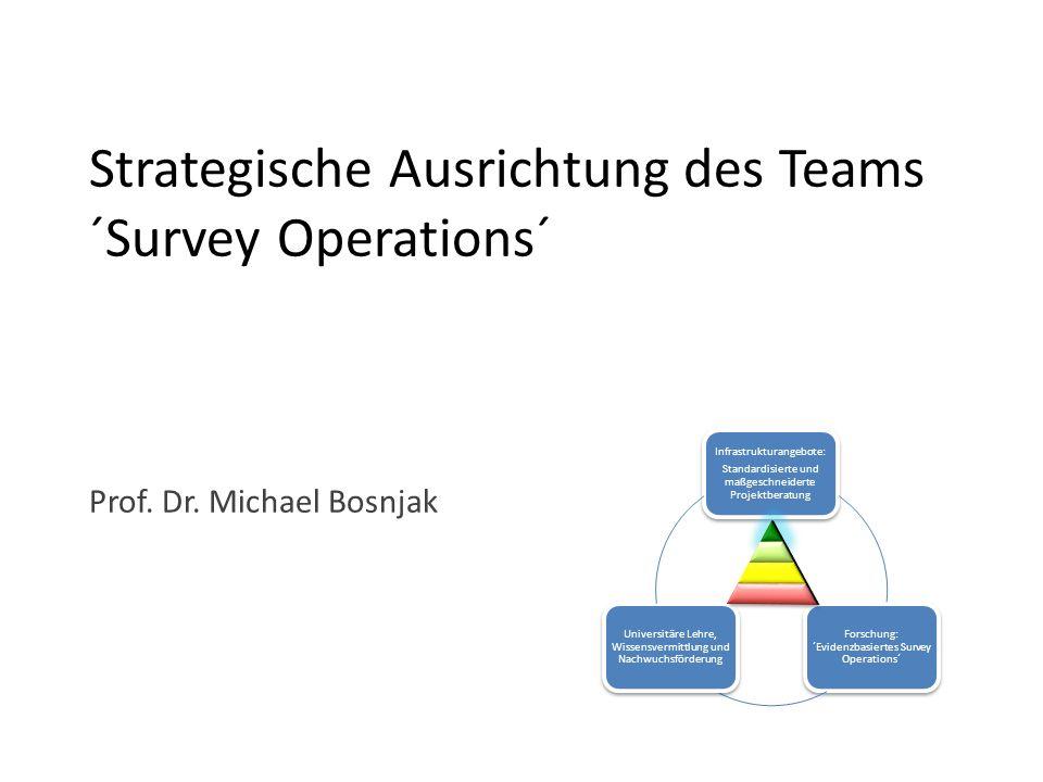 Strategische Ausrichtung des Teams ´Survey Operations´ Prof. Dr. Michael Bosnjak